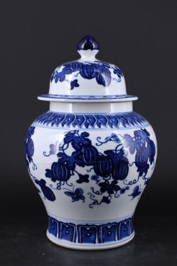 Chinese Qing Porcelain Blue&White Jar with Lid - 2