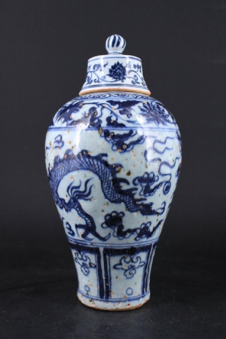 Chinese Ming Porcelain Blue&White Vase with Lid - 3