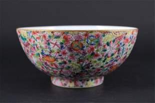 Chinese Qing Porcelain HundredFlower Bowl