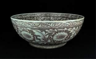 Large Chinese Ming Porcelain RedWhite Bowl