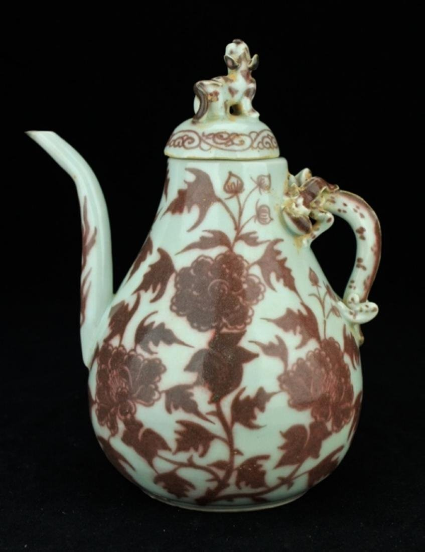 Chinese Ming Porcelain Red/White TeaPot with Lid