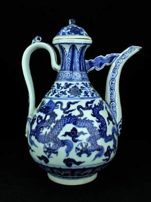 Large Chinese Ming Porcelain BlueWhite TeaPot
