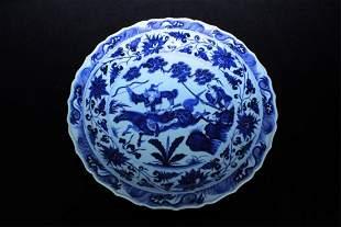 Large Chinese Ming Porcelain BlueWhite Plate