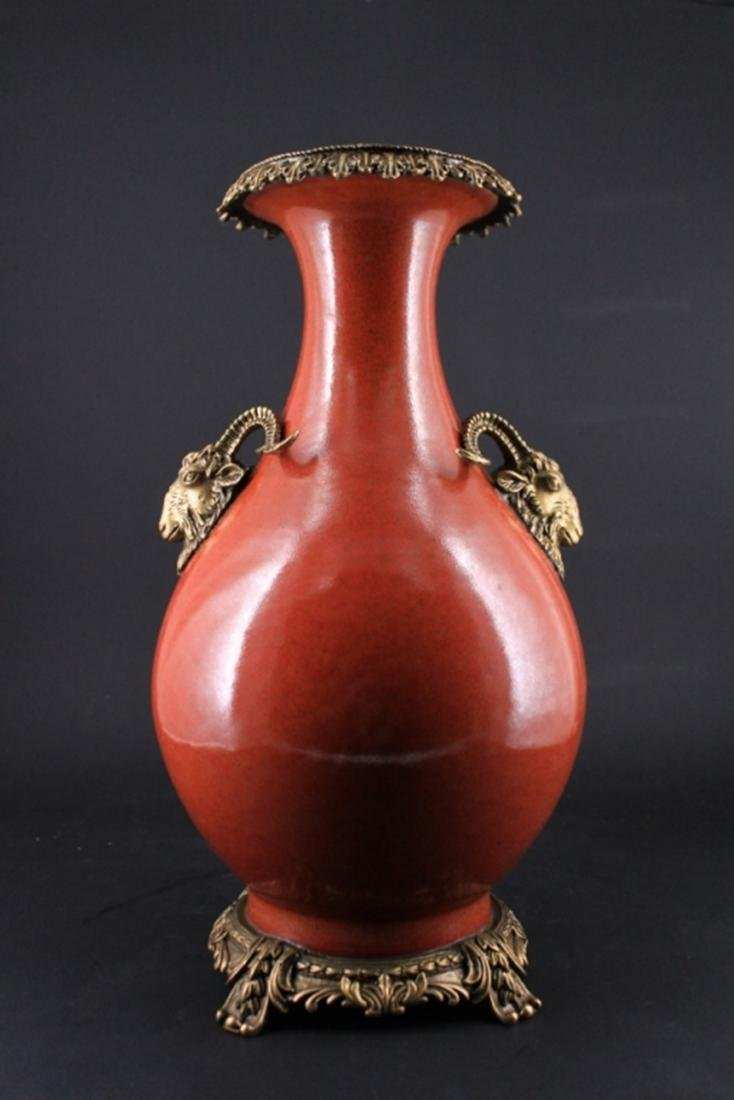 Large Chinese Qing Porcelain Vase with Bronze Moun