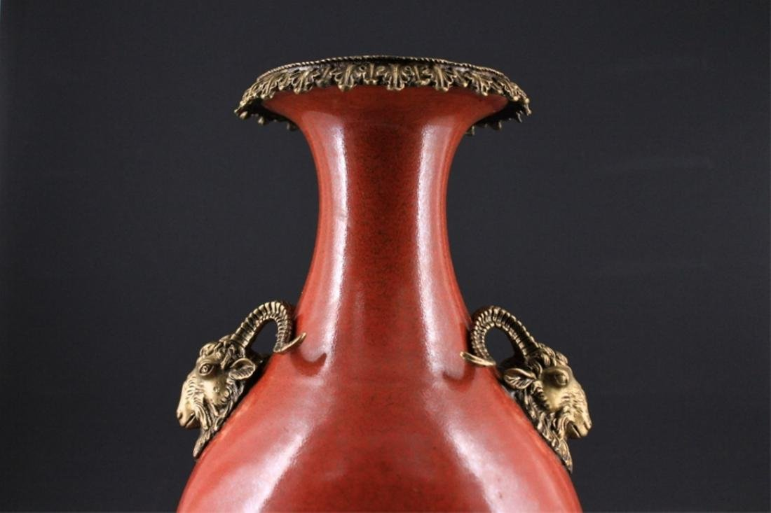 Large Chinese Qing Porcelain Vase with Bronze Moun - 2