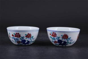 Pair of Chinese Ming Porcelain DouCai Cup