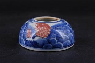 Chinese Qing Porcelain BlueWhite Brush Pot