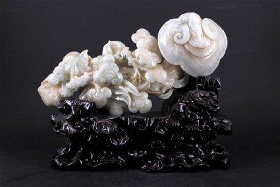 Large Hand Carved White Jade Ganoderma Figure