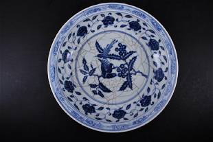 Large Chinese Ming Porcelain BlueWhite Bird Plate