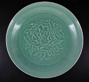 Large Chinese Qing Porcelain LongQuan Flower Plate