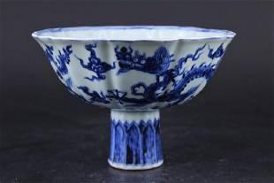 Ming Porcelain BlueWhite Dragon Handle Cup