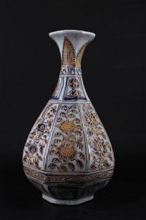 Chinese Ming Porcelain BlueWhite Gold Gilt Vase