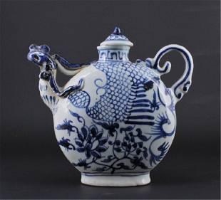 Chinese Ming Porcelain BlueWhite TeaPot