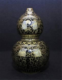 Chinese Qing Porcelain Gold Gilt Gourd Vase