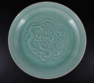 Large Chinese Qing Porcelain LongQuan Dragon Plate