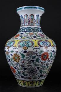 Large Chinese Qing Porcelain DouCai Vase