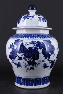 Chinese Qing Porcelain BlueWhite Jar with Lid