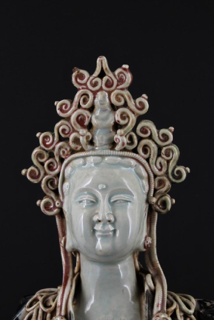 Large Chinese Ming Porcelain Blue&White GuanYin - 2