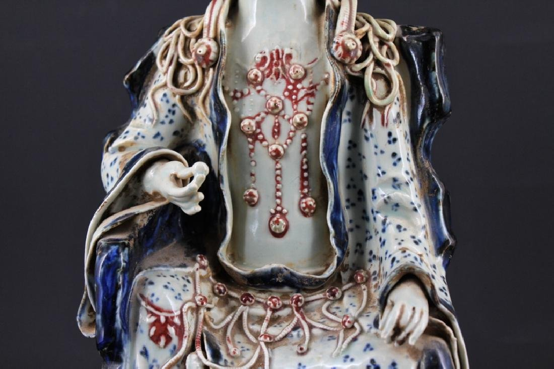 Large Chinese Ming Porcelain Blue&White GuanYin - 3