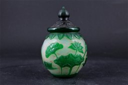 Small Qing Peking Glass Floral Pot with Lid