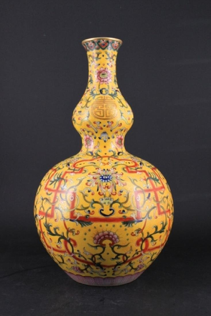 Large Chinese Qing Porcelain Famille Rose Gourd Va