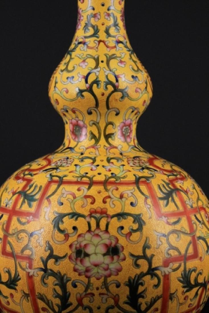 Large Chinese Qing Porcelain Famille Rose Gourd Va - 5