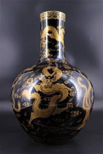 Large Qing Porcelain Dragon Phoenix Vase