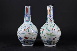 Pair of Ming Porcelain DouCai Vase