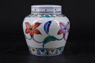 Ming Porcelain DouCai Jar with Lid