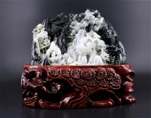 Chinese Hand Carved Jade Mountain Figure