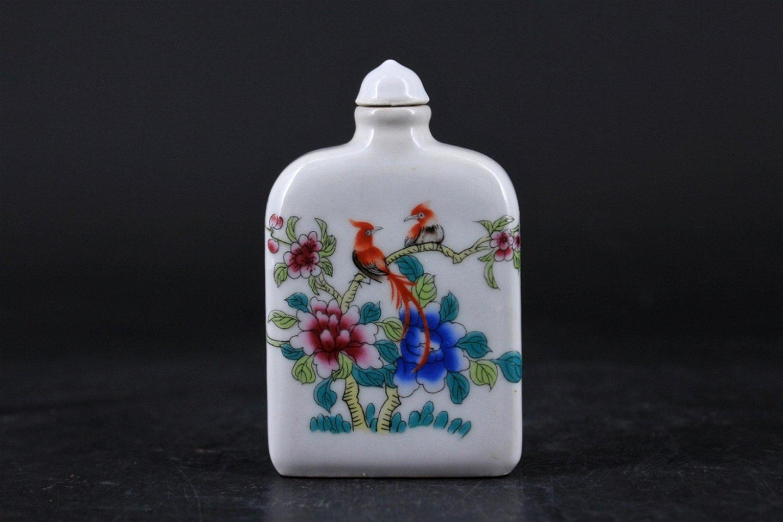 Qing Porcelain Famille Rose Snuff Bottle