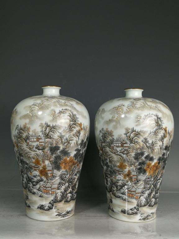 Pair of Qing Porcelain Famille Rose Vase