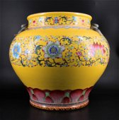 Large Qing Porcelain Famille Rose Swallow Jardine
