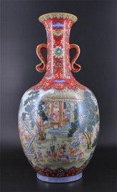 Large Qing Dynasty Porcelain Famille Rose Vase