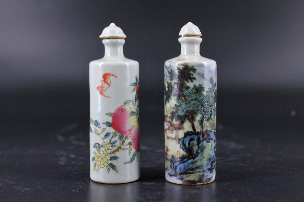 Pair of Qing Porcelain Famille Rose Snuff Bottle