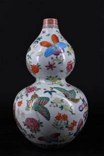 Qing Porcelain Famille Rose Gourd Vase