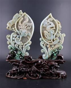 Set of Dragon and Phoenix Jadite Figure