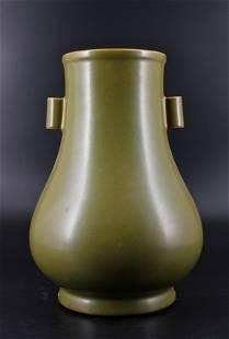 Qing Porcelain Tea Dust Green Vase