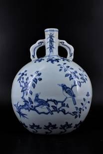 Ming Porcelain BlueWhite Bird Flask