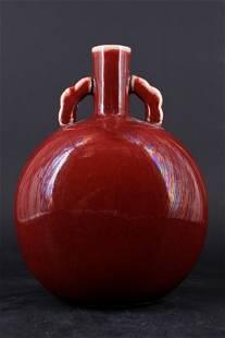 Large Chinese Qing Porcelain Red Glaze Vase
