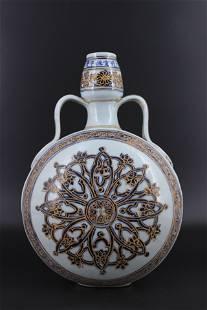 Qing Porcelain BlueWhite Gold Flask
