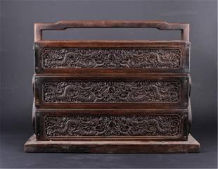 Chinese Qing ThreeLayer Wooden Box