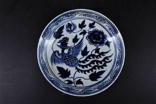 Ming Porcelain BlueWhite Phoenix Plate