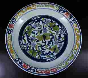 Large Qing Porcelain Doucai Plate