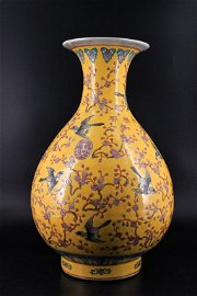 Large Qing Porcelain Yellow Sollow Floral Vase