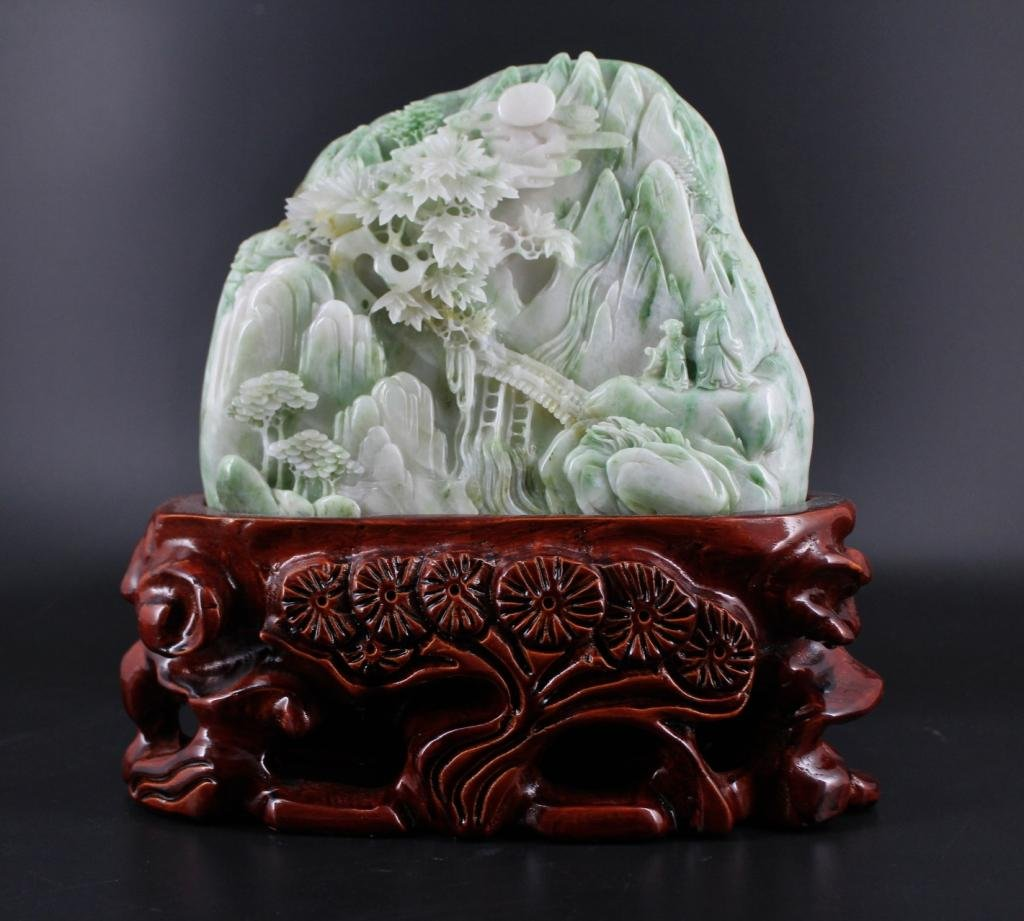 Qing Hand Carved Jade Mountain with Wooden Base