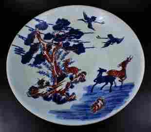Large Qing Porcelain BlueWhite Plate