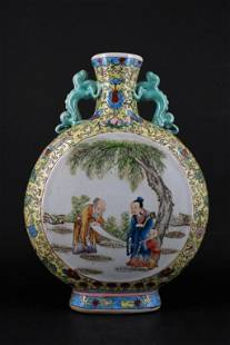 Large Chinese Qing Porcelain Famille Rose Flask