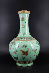 Large Qing Porcelain Famille Rose Vase