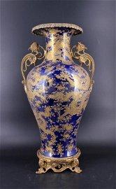 Qing Porcelain Blue Gold Dragon Vase with Bronze M